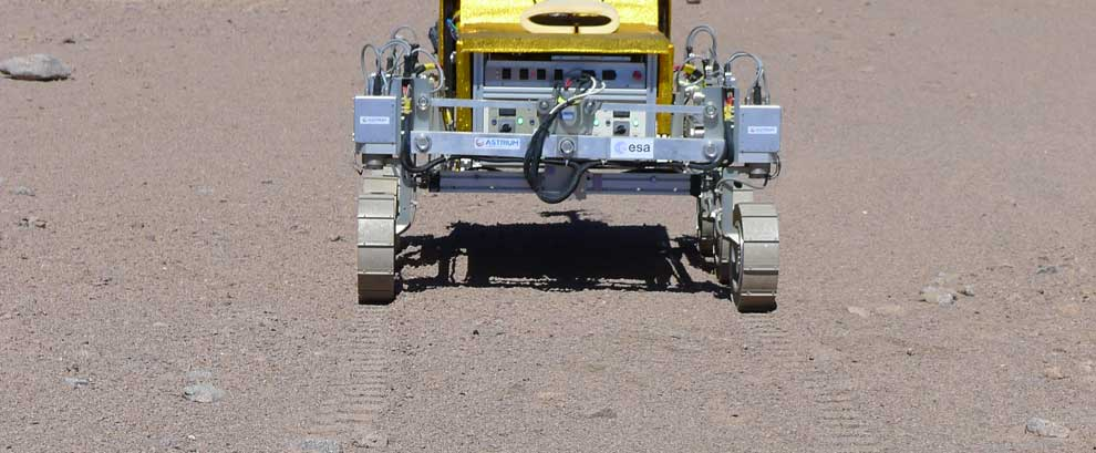 SAFER rover's first tracks in Atacama Desert