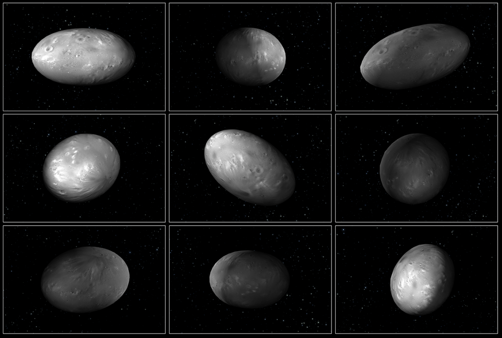 "This set of computer modeling illustrations of Pluto's moon Nix shows how the orientation of the moon changes unpredictably as it orbits the ""double planet"" Pluto-Charon."
